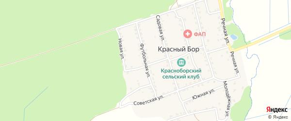 Футбольная улица на карте поселка Красного Бора с номерами домов