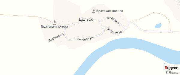 Зеленая улица на карте деревни Дольска с номерами домов