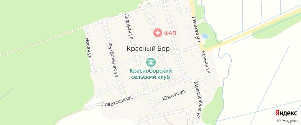Луговая улица на карте поселка Красного Бора с номерами домов