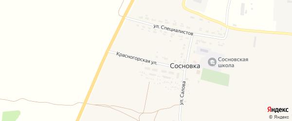 Красногорская улица на карте села Сосновки с номерами домов