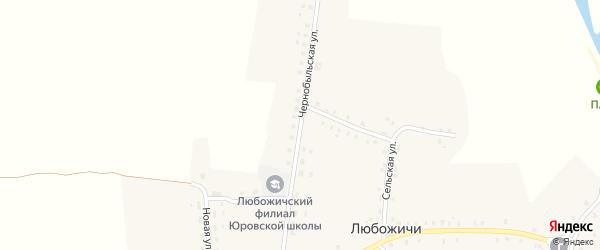 Чернобыльская улица на карте села Любожичи с номерами домов