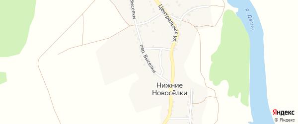 Переулок Выселки на карте деревни Нижние Новоселки с номерами домов