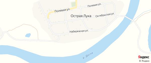 Набережная улица на карте деревни Острой Луки с номерами домов