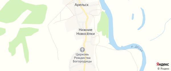 Карта деревни Нижние Новоселки в Брянской области с улицами и номерами домов