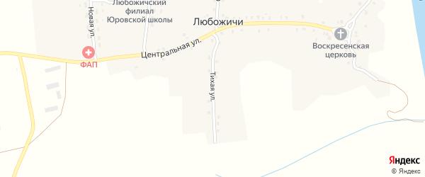 Тихая улица на карте села Любожичи с номерами домов