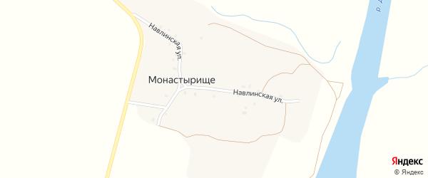 Навлинская улица на карте деревни Монастырища с номерами домов