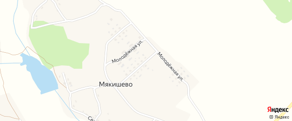 Молодежная улица на карте деревни Мякишево с номерами домов