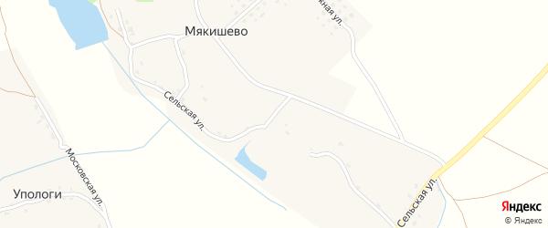 Сельская улица на карте деревни Мякишево с номерами домов