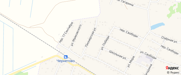 Пионерская улица на карте Сельца с номерами домов