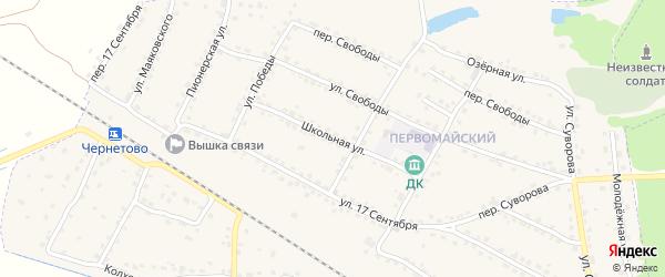 Школьная улица на карте Сельца с номерами домов