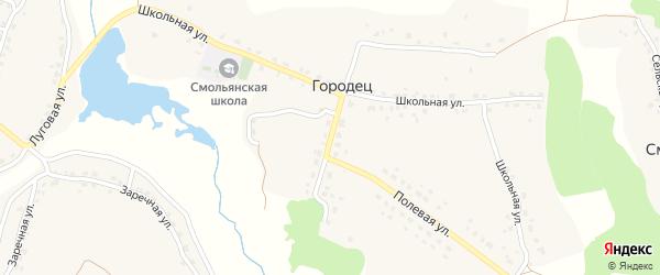 Школьная улица на карте деревни Городца с номерами домов