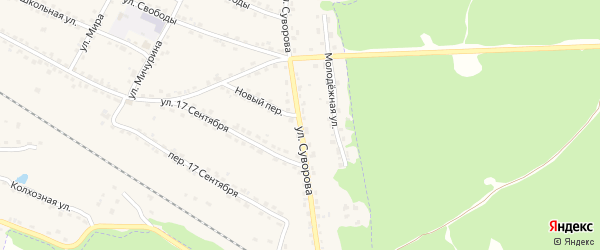 Улица Суворова на карте Сельца с номерами домов