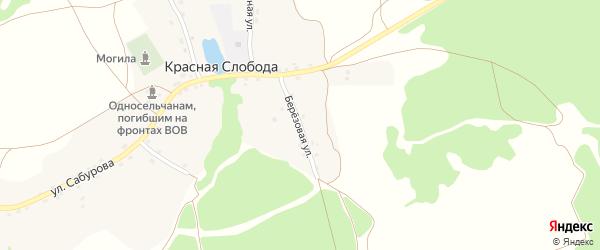 Березовая улица на карте села Красной Слободы с номерами домов