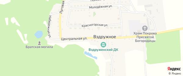Центральная улица на карте Вздружного села с номерами домов