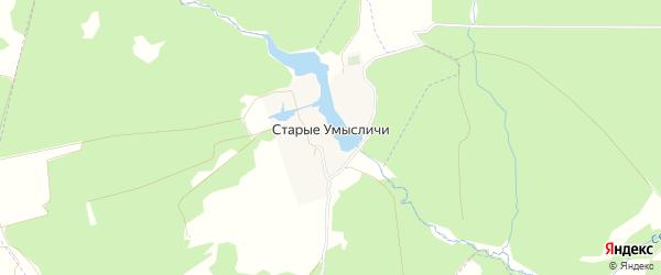 Карта деревни Старые Умысличи в Брянской области с улицами и номерами домов