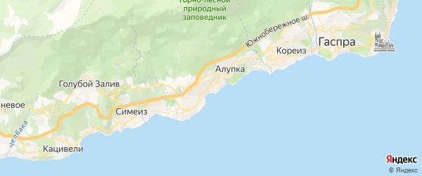 Карта Алупки города Ялты в Крыму с улицами и номерами домов