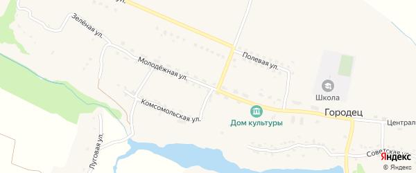 Молодежная улица на карте села Городца с номерами домов