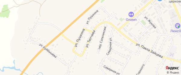 Улица Тютчева на карте поселка Выгоничей с номерами домов