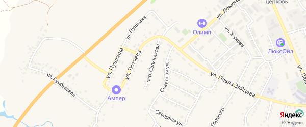 Переулок Сальникова на карте поселка Выгоничей с номерами домов