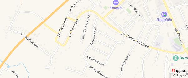 Северная улица на карте поселка Выгоничей с номерами домов