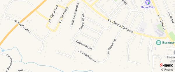 3-й Северный переулок на карте поселка Выгоничей с номерами домов