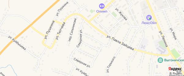 1-й Северный переулок на карте поселка Выгоничей с номерами домов