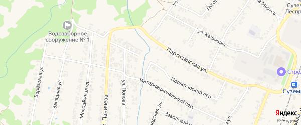 Пролетарский переулок на карте поселка Суземки с номерами домов