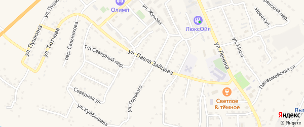 Улица Павла Зайцева на карте поселка Выгоничей с номерами домов