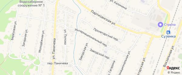 Интернациональный переулок на карте поселка Суземки с номерами домов