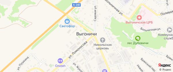 Переулок Свердлова на карте поселка Выгоничей с номерами домов