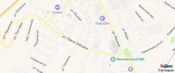 Железнодорожная улица на карте поселка Выгоничей с номерами домов