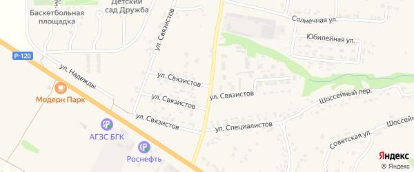 Территория ГСК Связистов на карте села Глинищево с номерами домов