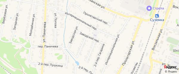 Заводской переулок на карте поселка Суземки с номерами домов
