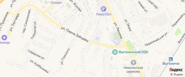 Пионерская улица на карте поселка Выгоничей с номерами домов