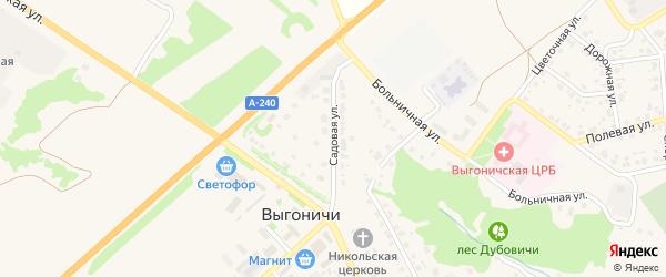 Садовая улица на карте поселка Выгоничей с номерами домов
