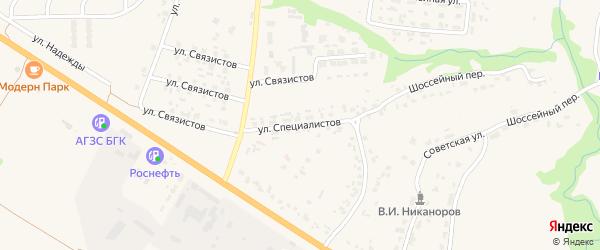 Улица Специалистов на карте села Глинищево с номерами домов