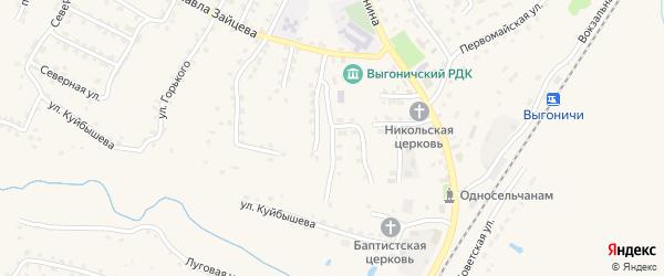 Первомайский переулок на карте поселка Выгоничей с номерами домов