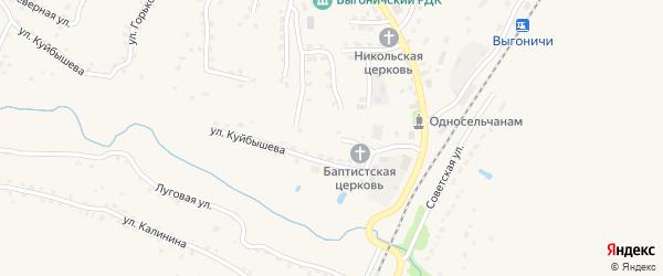 Переулок Куйбышева на карте поселка Выгоничей с номерами домов