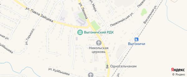 Октябрьская улица на карте поселка Выгоничей с номерами домов
