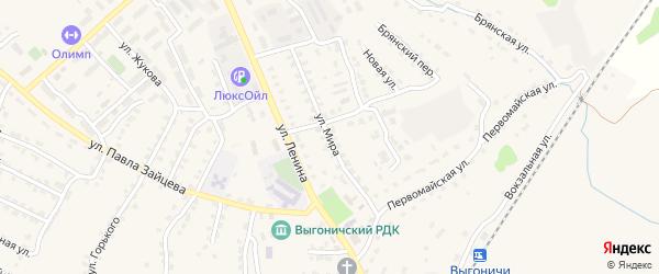 Улица Мира на карте поселка Выгоничей с номерами домов