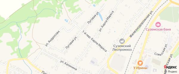 Переулок 1-й Карла Маркса на карте поселка Суземки с номерами домов