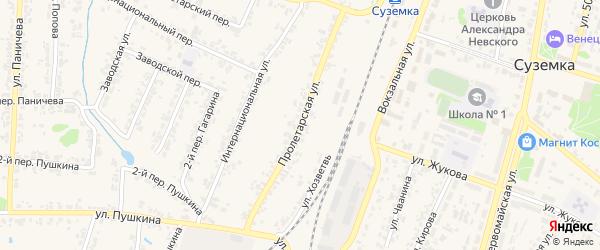 Пролетарская улица на карте поселка Суземки с номерами домов