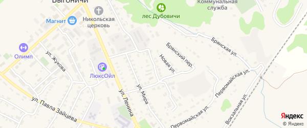 Переулок 60 лет Октября на карте поселка Выгоничей с номерами домов