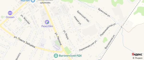 Переулок Мира на карте поселка Выгоничей с номерами домов
