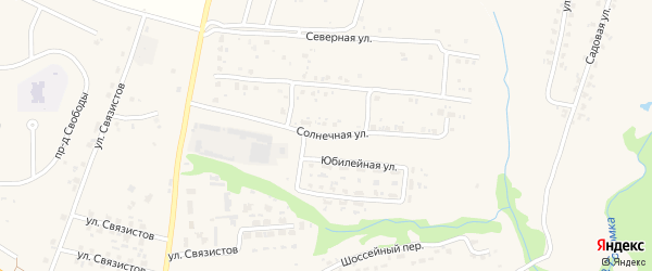 Солнечная улица на карте села Глинищево с номерами домов