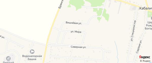 Улица Мира на карте села Глинищево с номерами домов