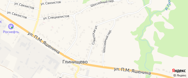 Советская улица на карте села Глинищево с номерами домов