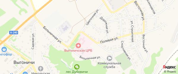 Юбилейная улица на карте поселка Выгоничей с номерами домов