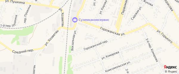 Горожанский тупик на карте поселка Суземки с номерами домов