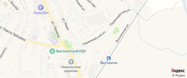 Первомайская улица на карте поселка Выгоничей с номерами домов